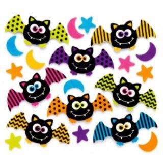 zelfklevende foam stickers met afbeeldingen van vleermuizen, sterren en manen