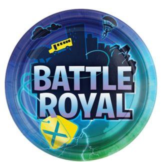 Set van acht borden met een tekstopdruk van Battle Royal tegen een blauwe achtergrond.