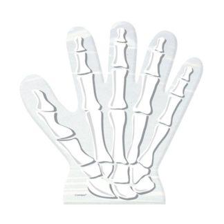 doorzichtig uitdeelzakje in de vorm van een hand met een witte afbeelding van een skelet hand erop