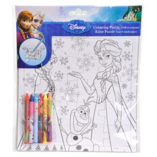 Puzzel met een afbeelding van personages uit de Disney film Frozen om zelf in te kleuren.