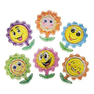 Doolhof geduldspel in de vorm van een bloem met een vrolijk lachend gezichtje in verschillende kleuren.