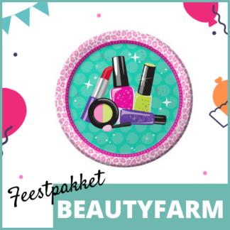 Feestpakket met feestversiering, knutselmateriaal en kleine uitdeelcadeautjes in het thema van de beautyfarm.