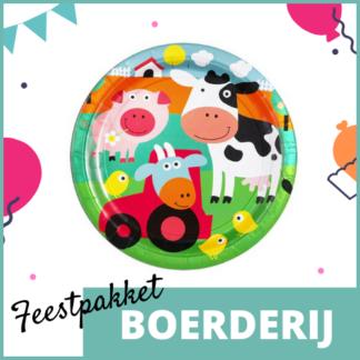Feestpakket met feestversiering, knutselmateriaal en kleine uitdeelcadeautjes in het thema van de boerderij.
