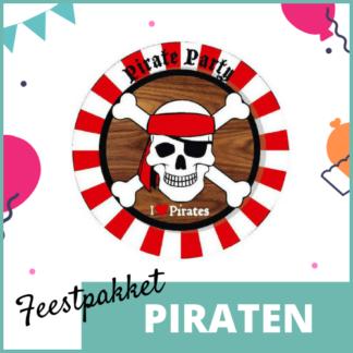 Feestpakket met feestversiering, knutselmateriaal en kleine uitdeelcadeautjes in het thema van piraten.