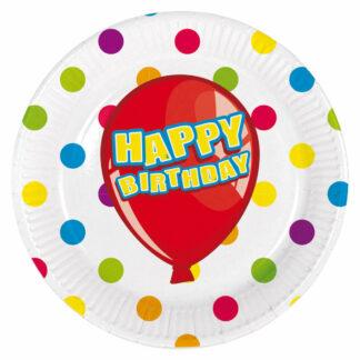 """Kartonnen bord met vrolijke stippen in verschillende kleuren tegen een witte achtergrond en een tekstopdruk van """"Happy Birthday"""" in een ballon."""