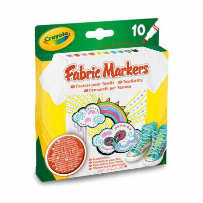 Set van 10 textielstiften in verschillende kleuren van het merk Crayola.