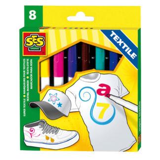 Set bevat 8 textielstiften in verschillende kleuren van het merk SES.