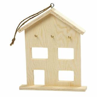 Blanco houten sleutelhuisje met drie sleutelhaken en een ophanglus.