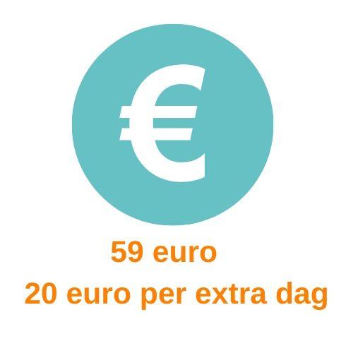 euroteken met info over de huurprijs van een themakist